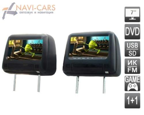 Комплект подголовников со встроенным DVD плеером и LCD монитором 7 дюймов AVIS AVS0733T+AVS0734BM