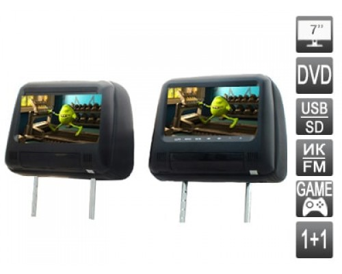 """Комплект подголовников со встроенным DVD плеером и LCD монитором 7"""" AVIS AVS0733T+AVS0734BM"""